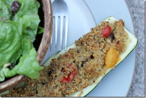 Quinoa Stuffed Squash Boats by Daily Garnish