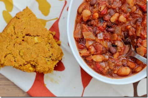 Twenty-Minute Four-Bean Vegetarian Chili by Daily Garnish