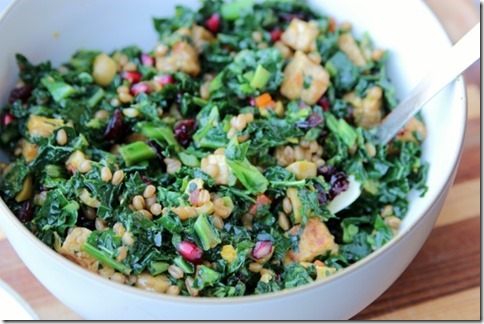 Festive Kale Salad with Wheatberries & Tempeh by Daily GarnishFestive Kale Salad with Wheatberries & Tempeh by Daily Garnish
