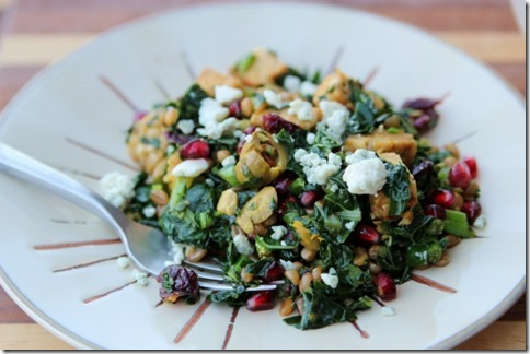 Festive Kale Salad with Wheatberries & Tempeh by Daily Garnish
