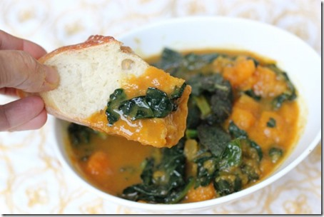 Coconut Curried Butternut Squash & Kale Soup by Daily Garnish