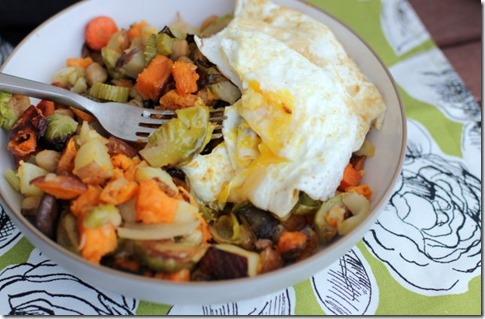 Roasted Vegetable & Mushroom Hash (with Eggs!) by Daily Garnish