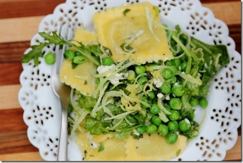 Zesty Ravioli Salad with Peas and Arugula by Daily Garnish