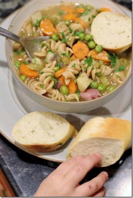 Winter Blues No-Chicken Veggie Noodle Soup by Daily Garnish